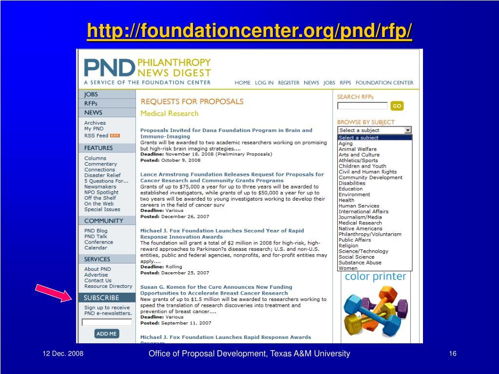 http://foundationcenter.org/pnd/rfp/