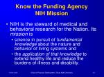 know the funding agency nih mission