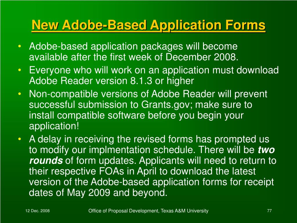 New Adobe-Based Application Forms