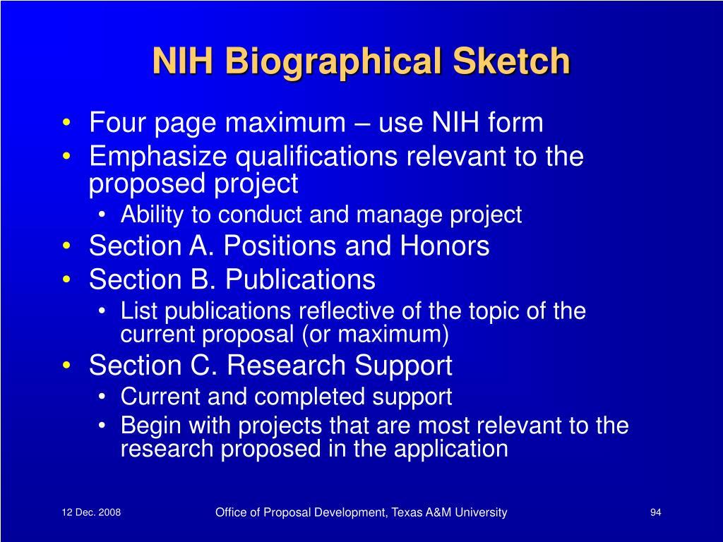NIH Biographical Sketch
