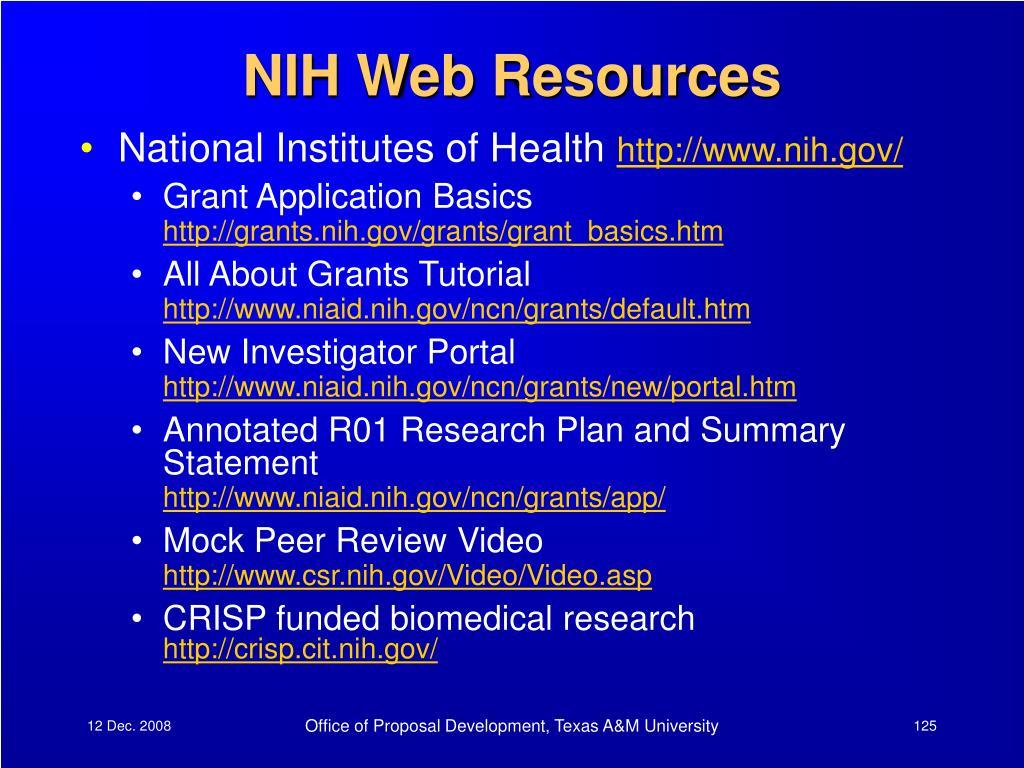 NIH Web Resources