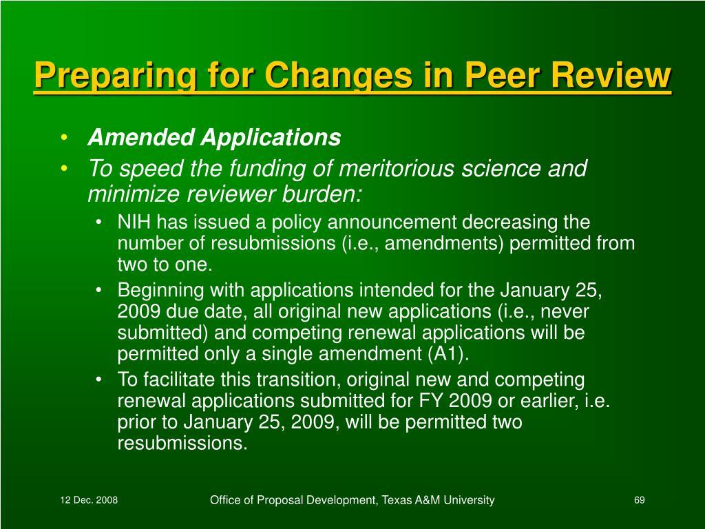 Preparing for Changes in Peer Review