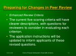 preparing for changes in peer review73