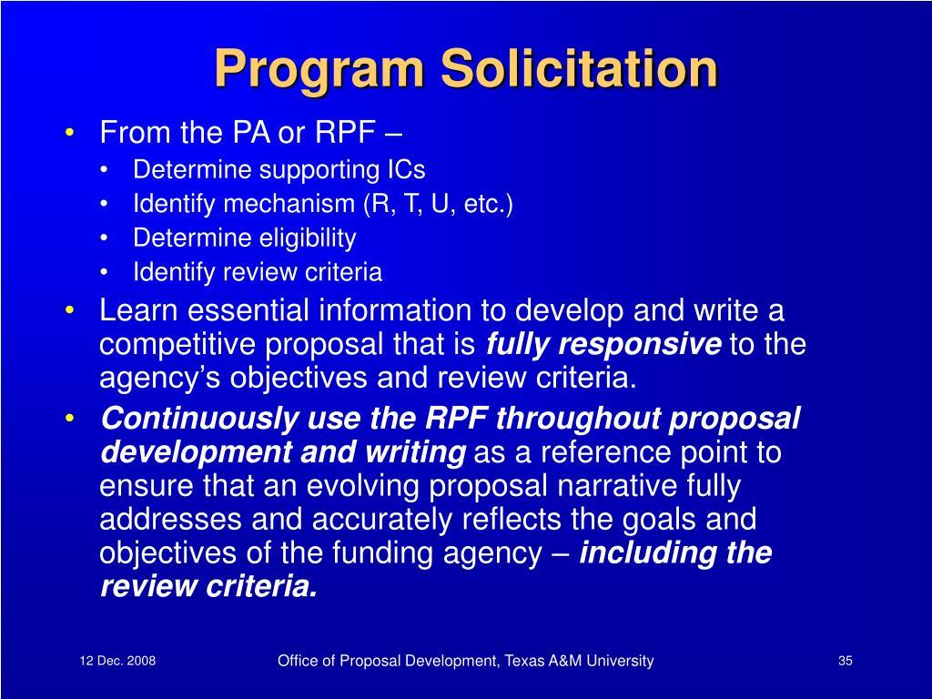 Program Solicitation
