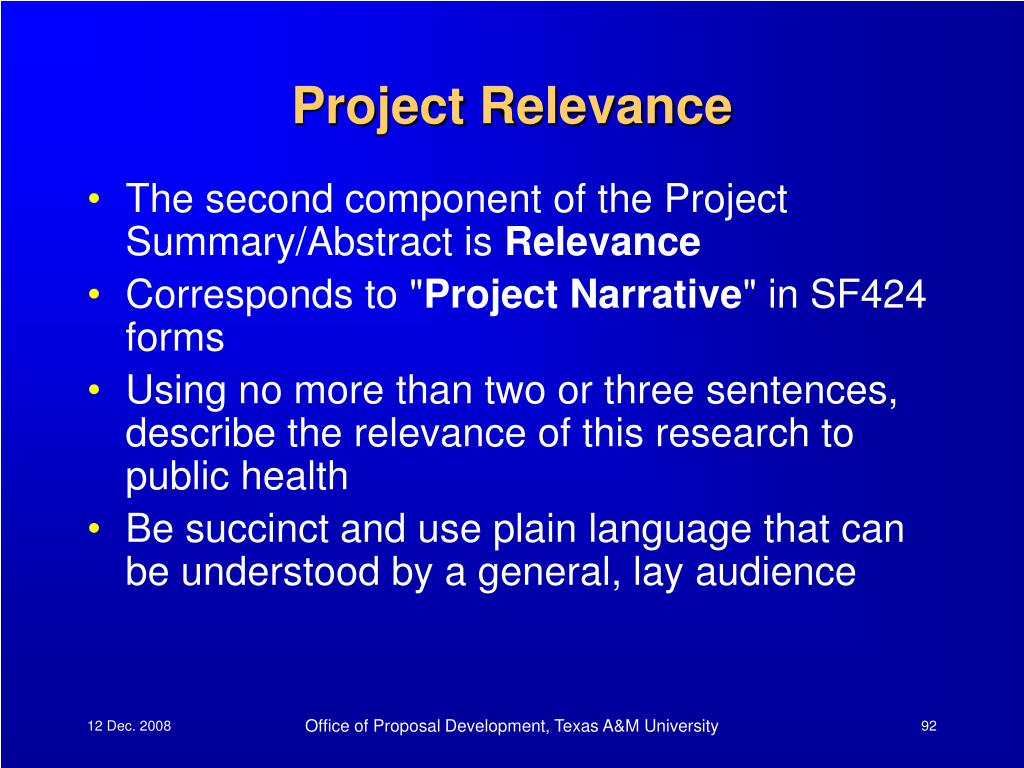 Project Relevance