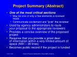 project summary abstract