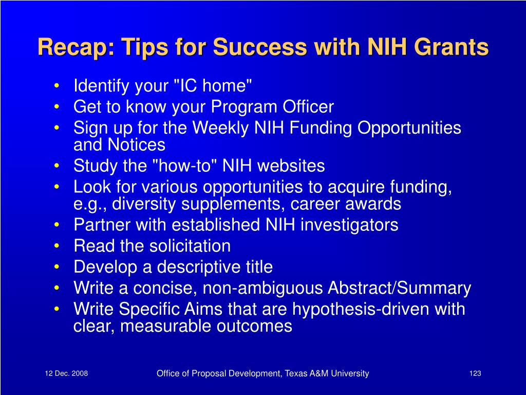 Recap: Tips for Success with NIH Grants