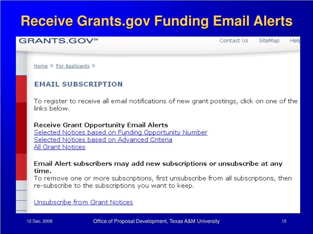 Receive Grants.gov Funding Email Alerts