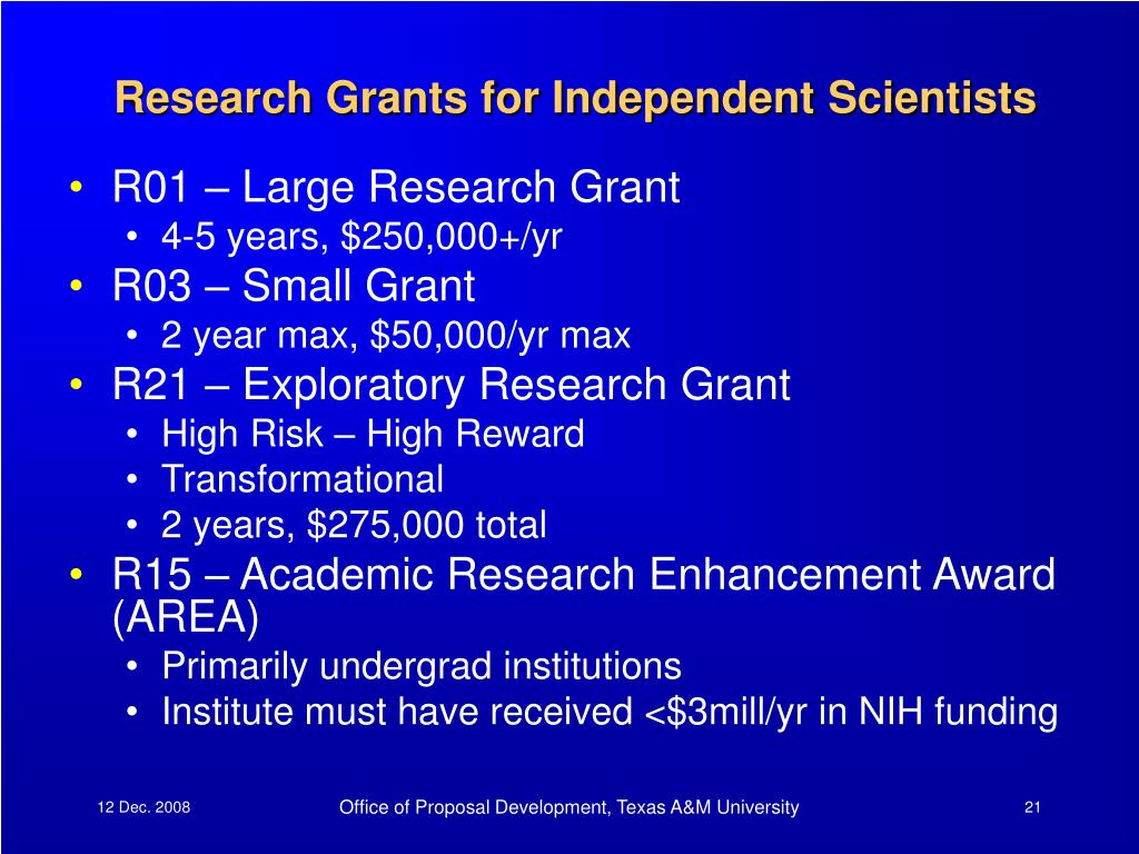 Research Grants for Independent Scientists