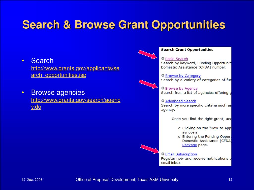 Search & Browse Grant Opportunities