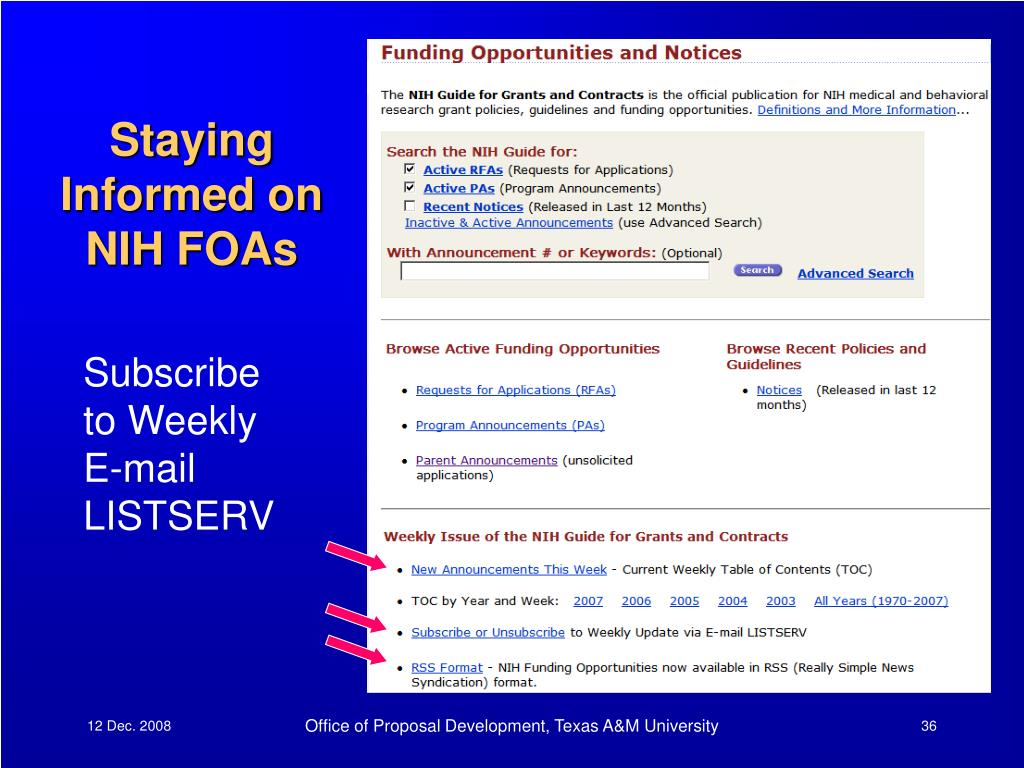 Staying Informed on NIH FOAs