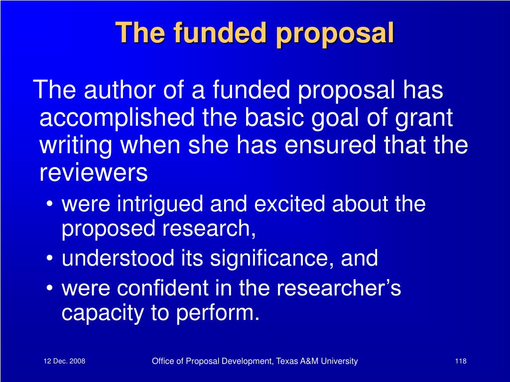 The funded proposal