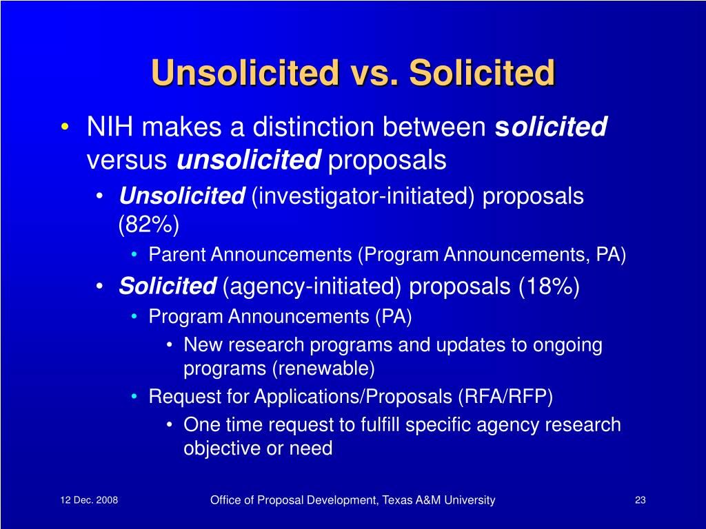 Unsolicited vs. Solicited