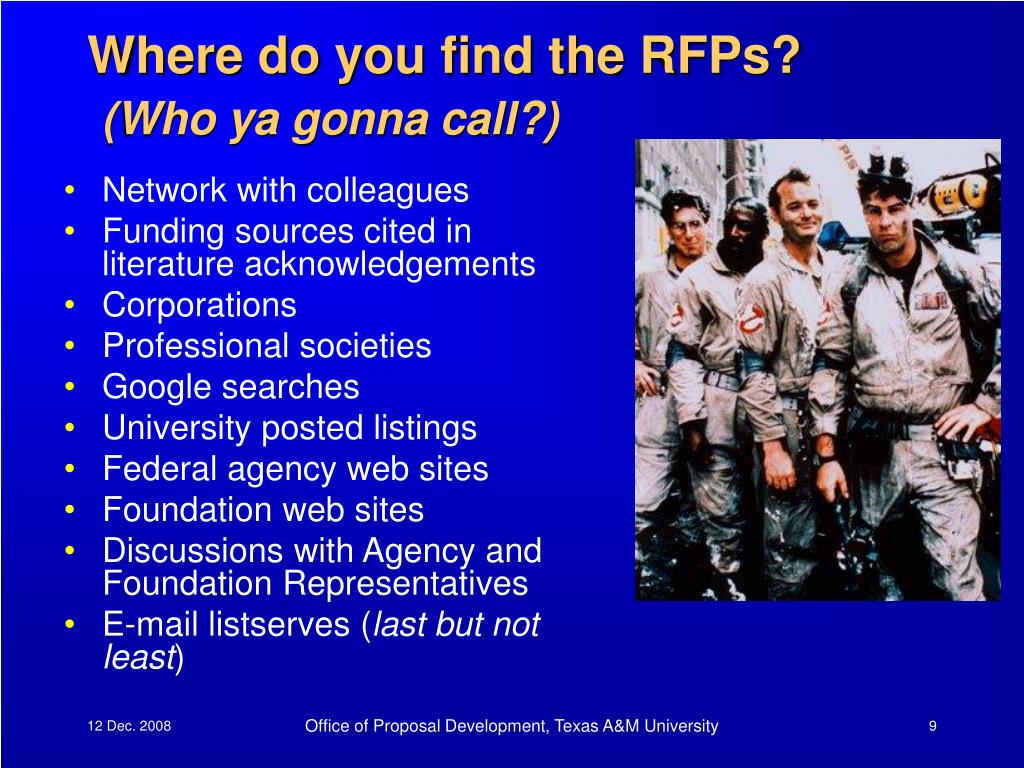 Where do you find the RFPs?