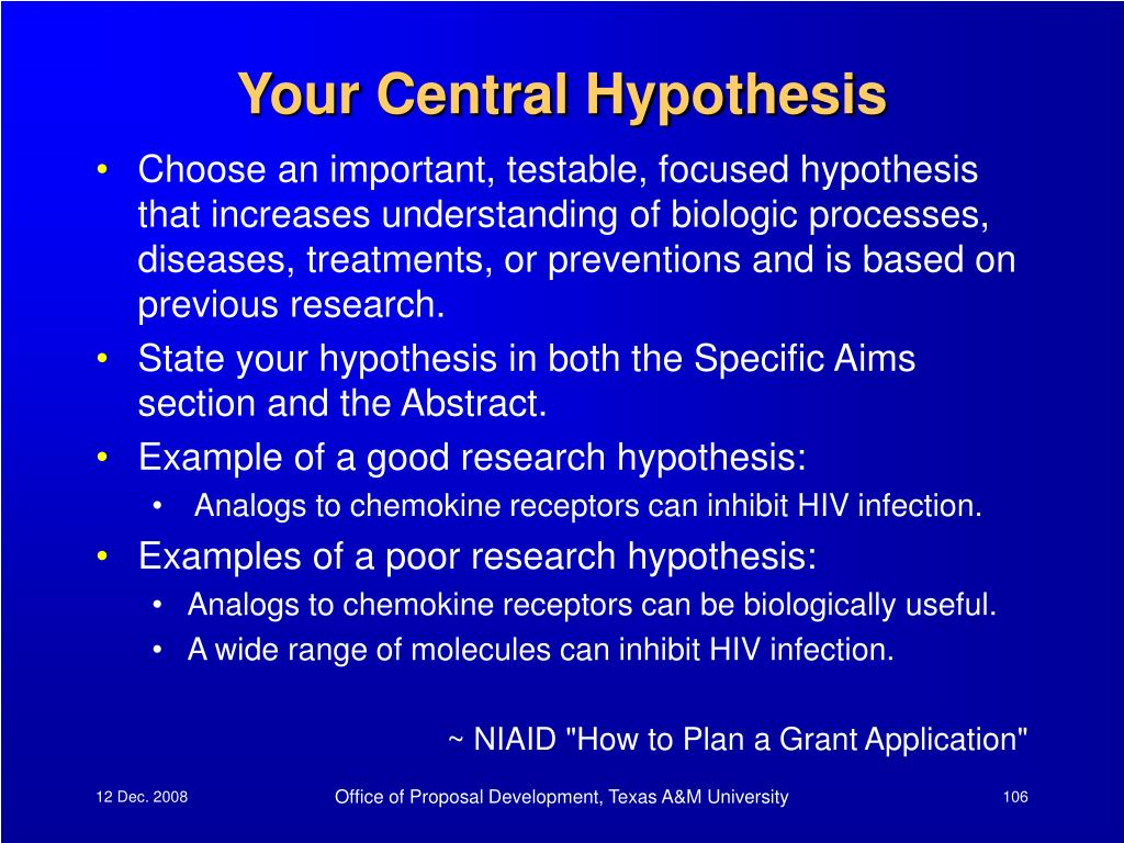 Your Central Hypothesis