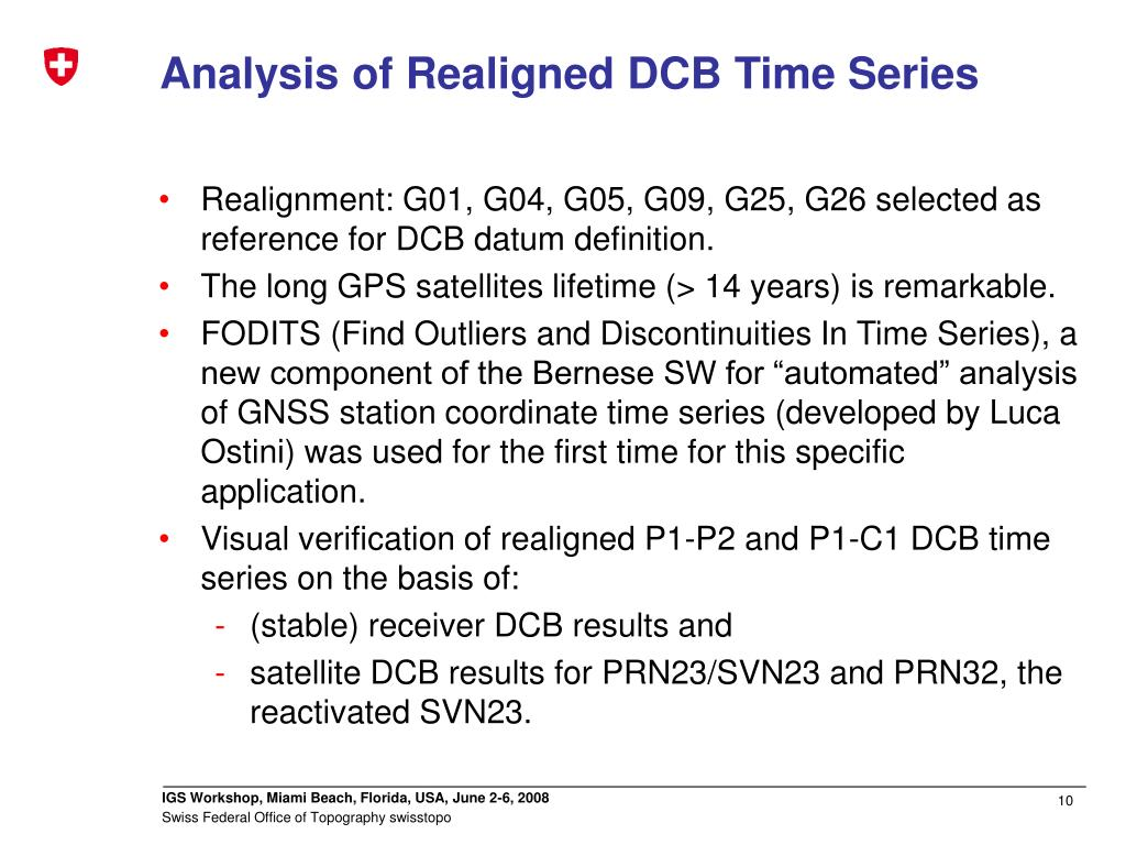 Analysis of Realigned DCB Time Series