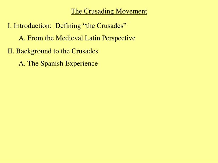 The Crusading Movement