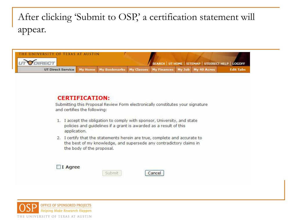 After clicking 'Submit to OSP,' a certification statement will appear.