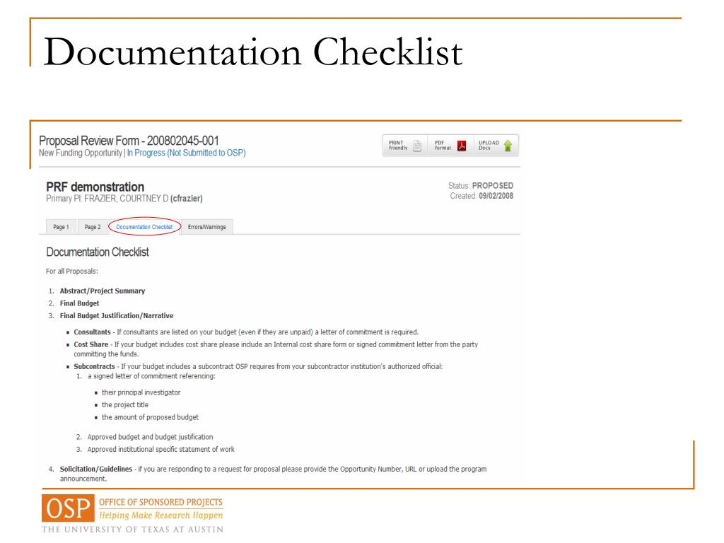 Documentation Checklist
