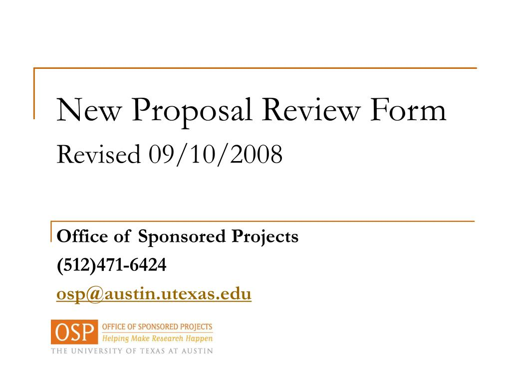 New Proposal Review Form