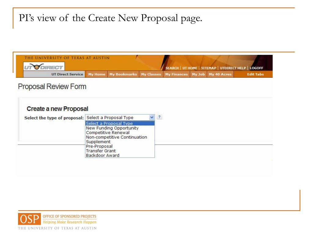 PI's view of the Create New Proposal page.