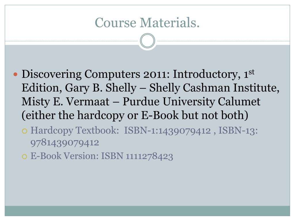 Course Materials.