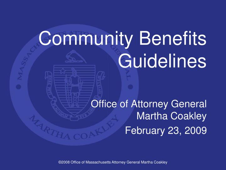 Community benefits guidelines