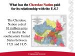 what has the cherokee nation paid for its relationship with the u s