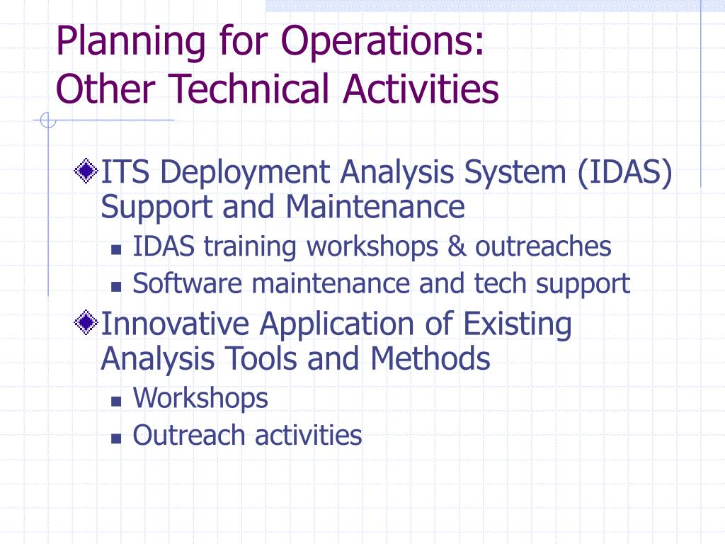 Planning for Operations: