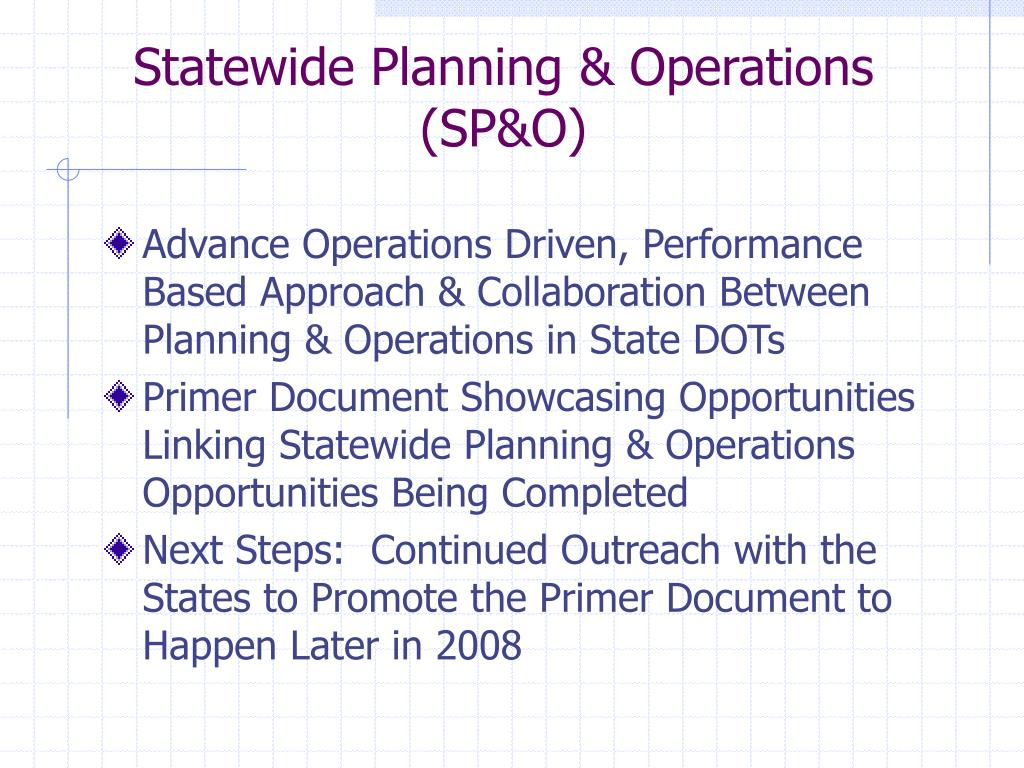 Statewide Planning & Operations