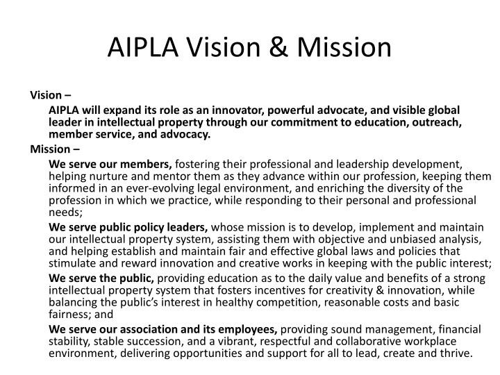 AIPLA Vision & Mission