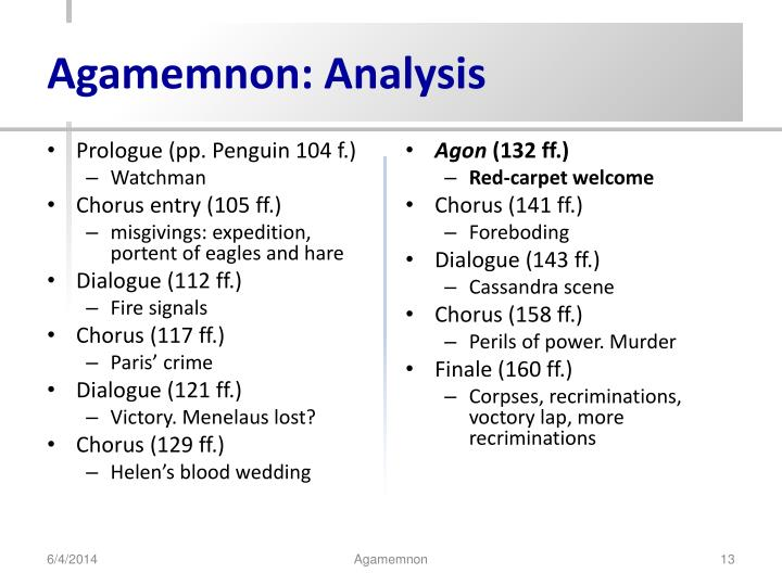 an analysis of clytemnestras role in agamemnon She dwells on the wrong done by agamemnon's father as a reason for the killing, and on the role of aegisthus, emphasizing that agamemnon is a victim of the family curse and of an adulterous wife and agamemnon's words about her and clytemnestra's words to her show the king at his best, and the queen at her worst.