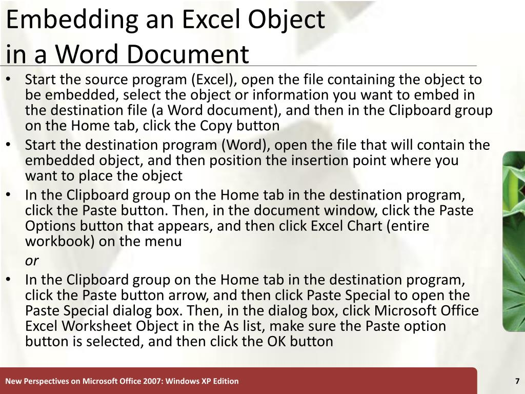Embedding an Excel Object