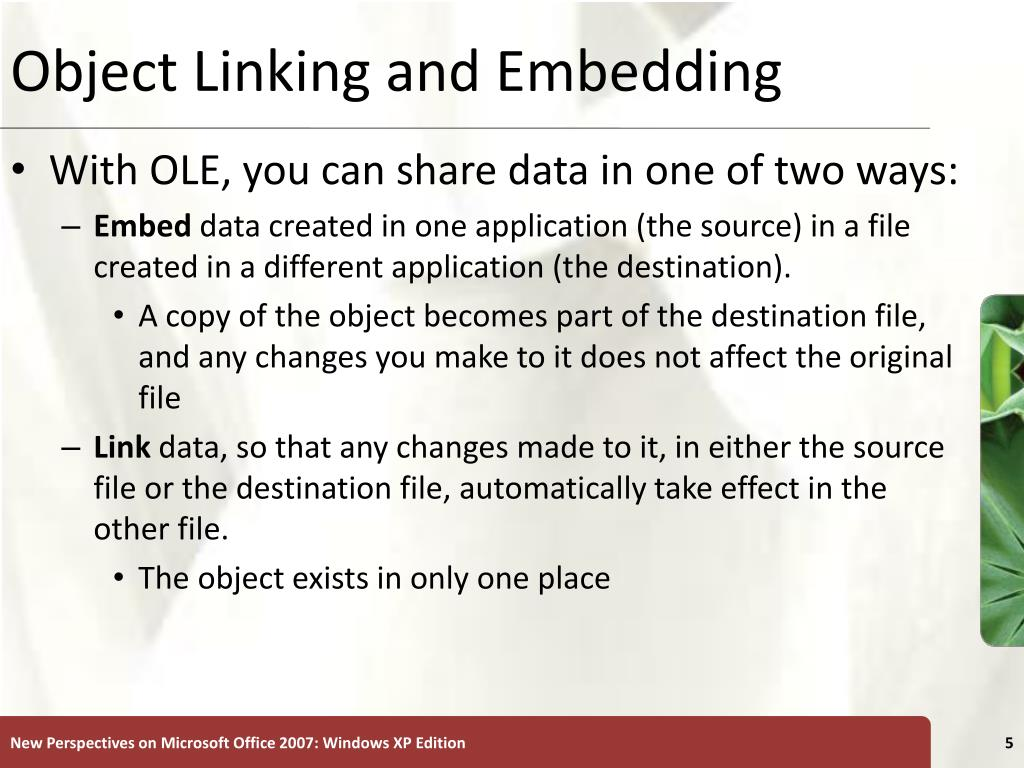 Object Linking and Embedding