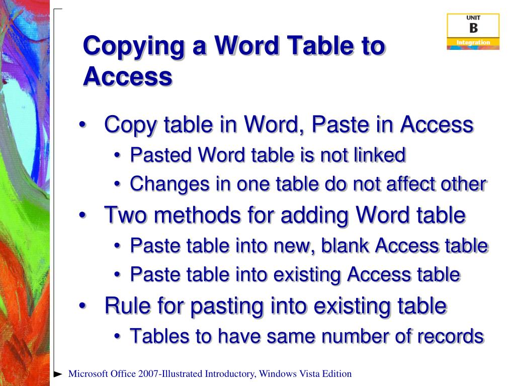 Copying a Word Table to Access