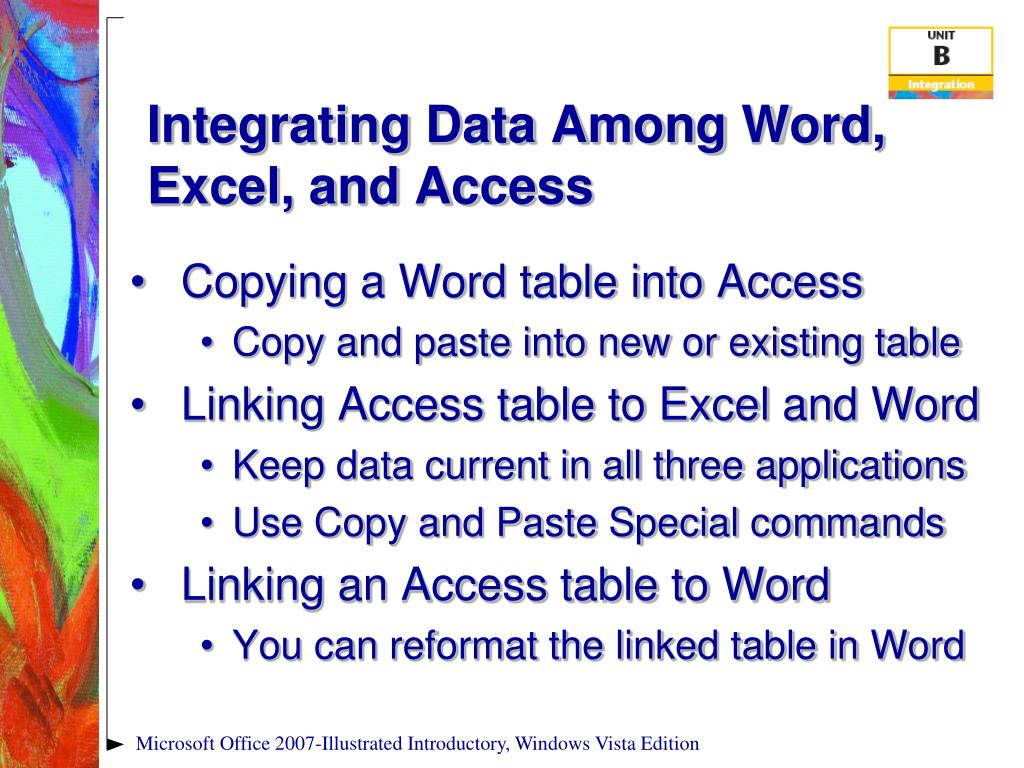 Integrating Data Among Word, Excel, and Access