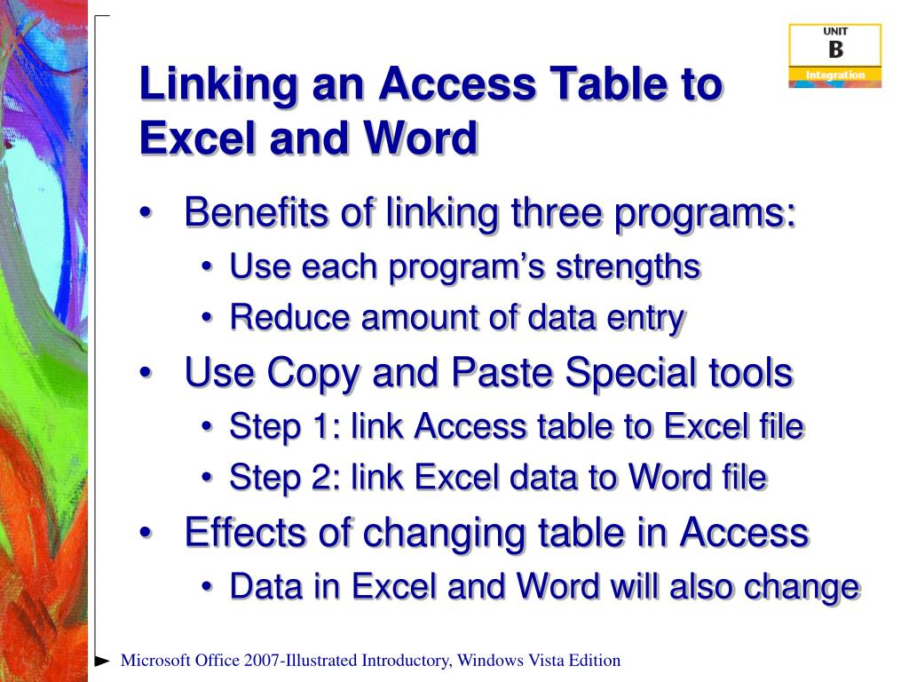 Linking an Access Table to Excel and Word
