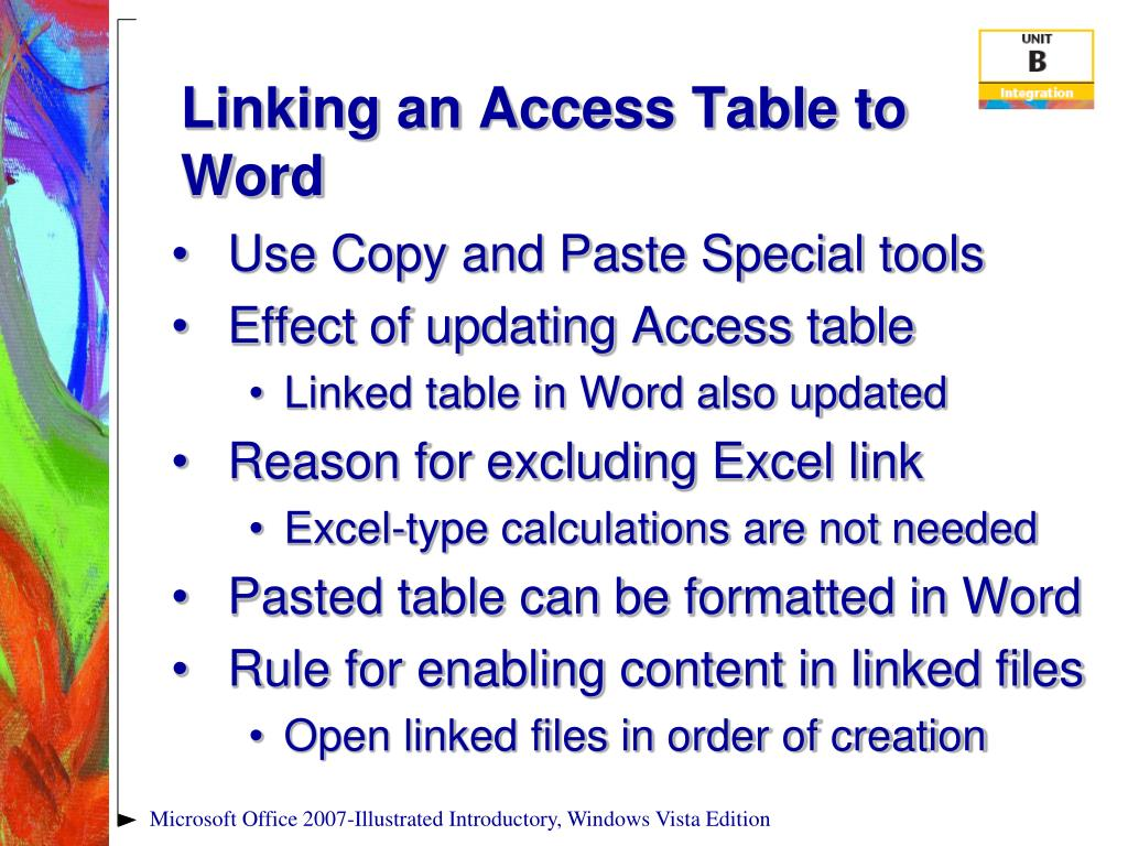 Linking an Access Table to Word