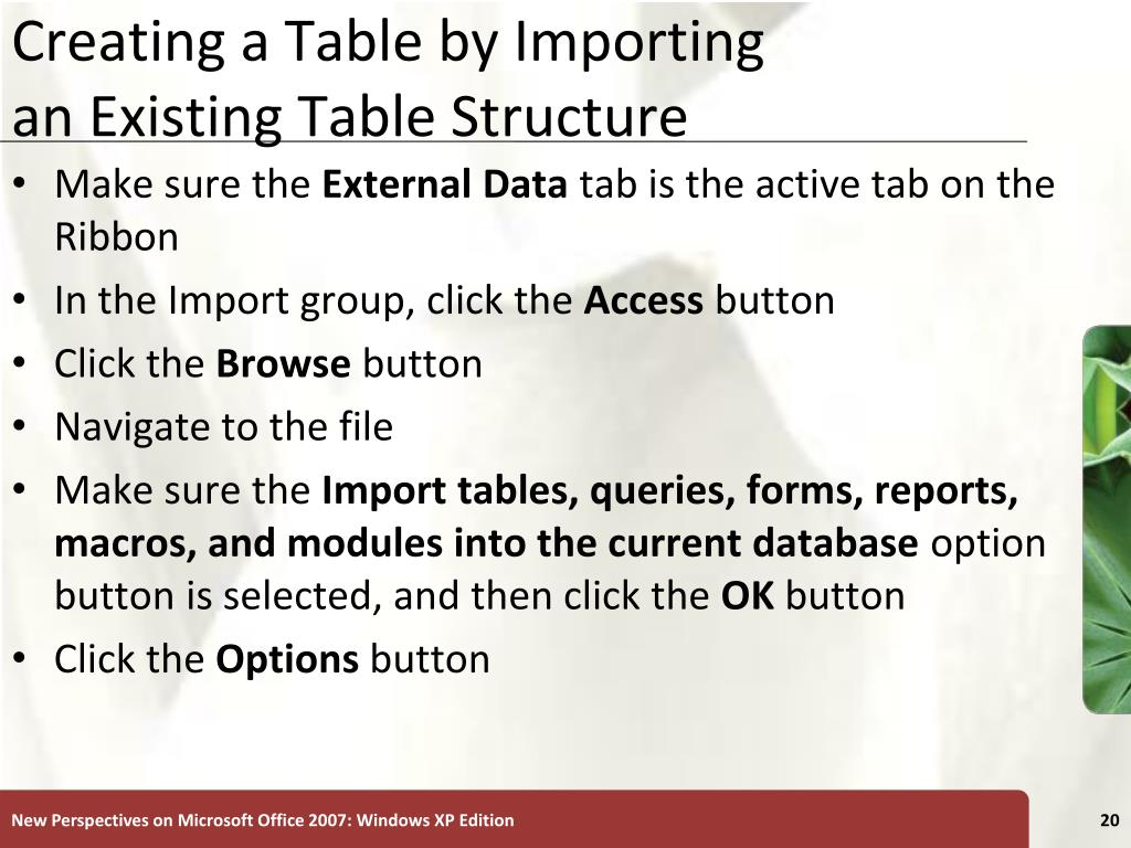 Creating a Table by Importing