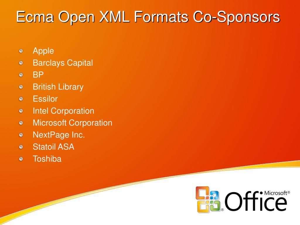 Ecma Open XML Formats Co-Sponsors
