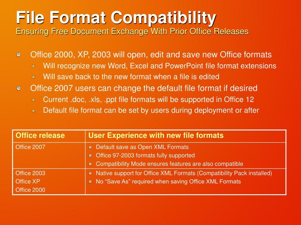 File Format Compatibility