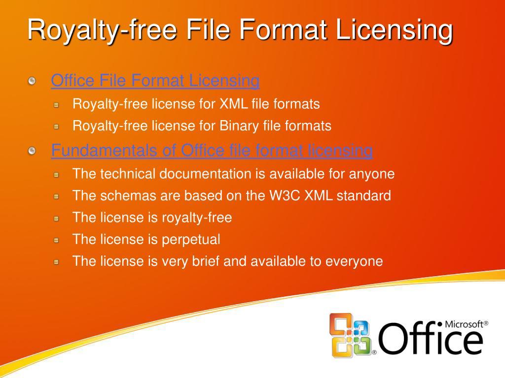 Royalty-free File Format Licensing