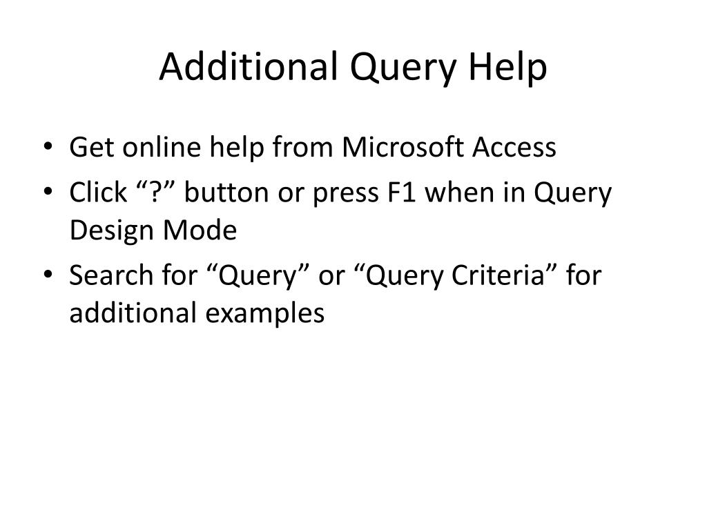 Additional Query Help