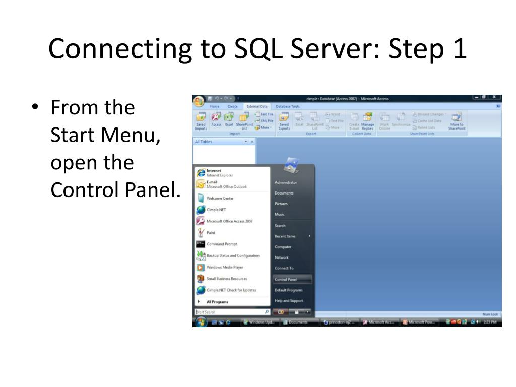 Connecting to SQL Server: Step 1