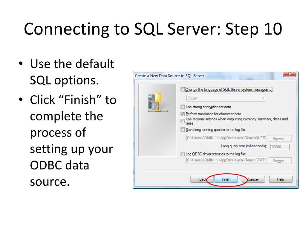 Connecting to SQL Server: Step 10