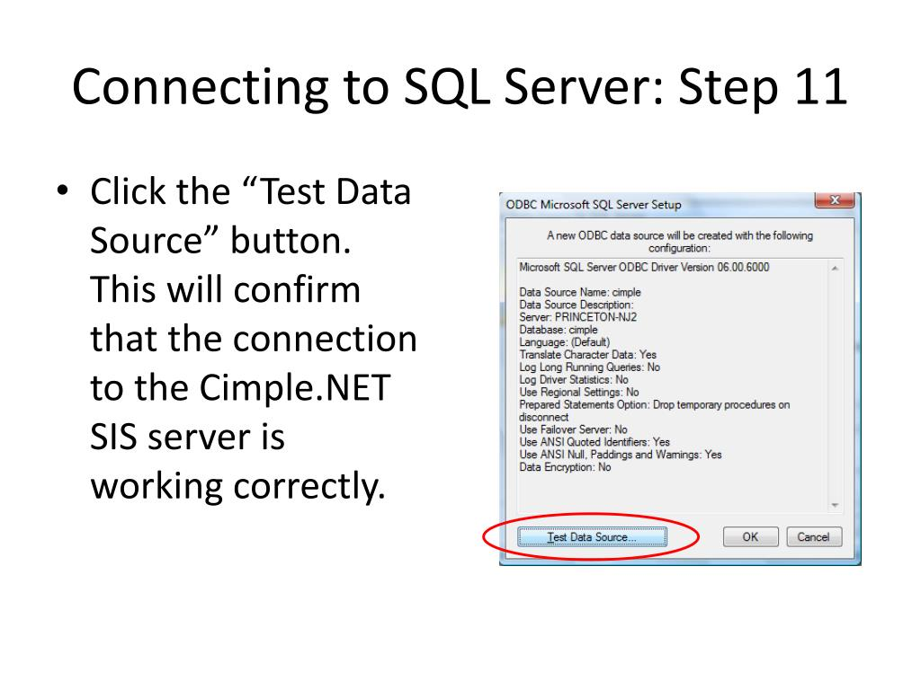 Connecting to SQL Server: Step 11