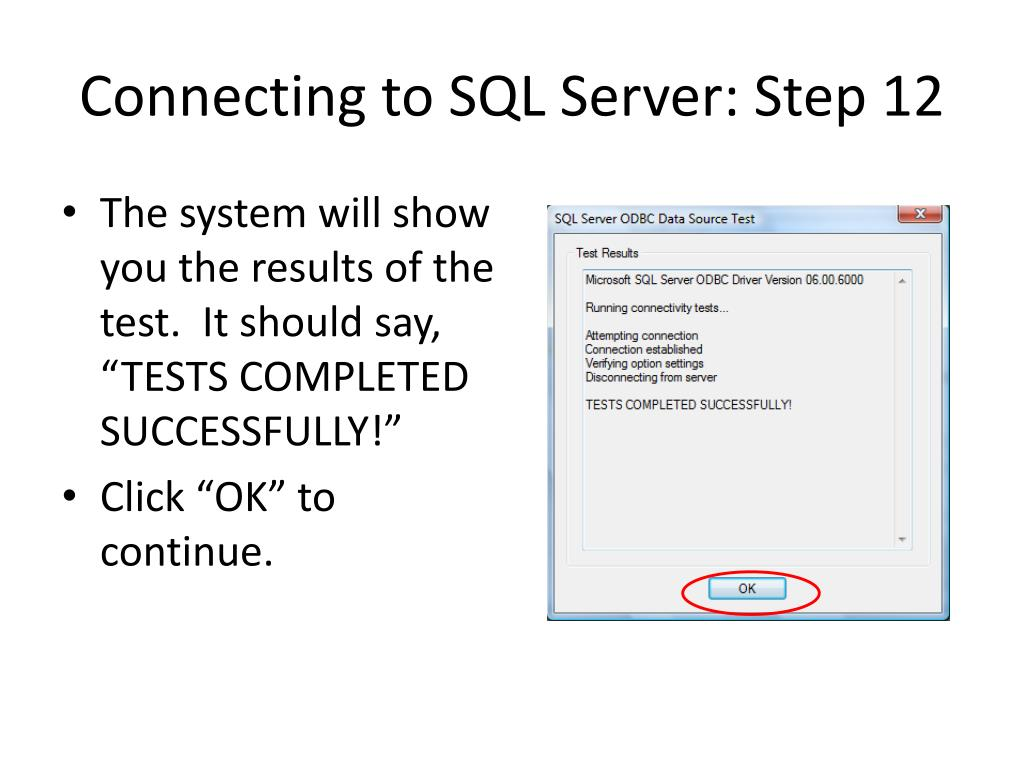 Connecting to SQL Server: Step 12