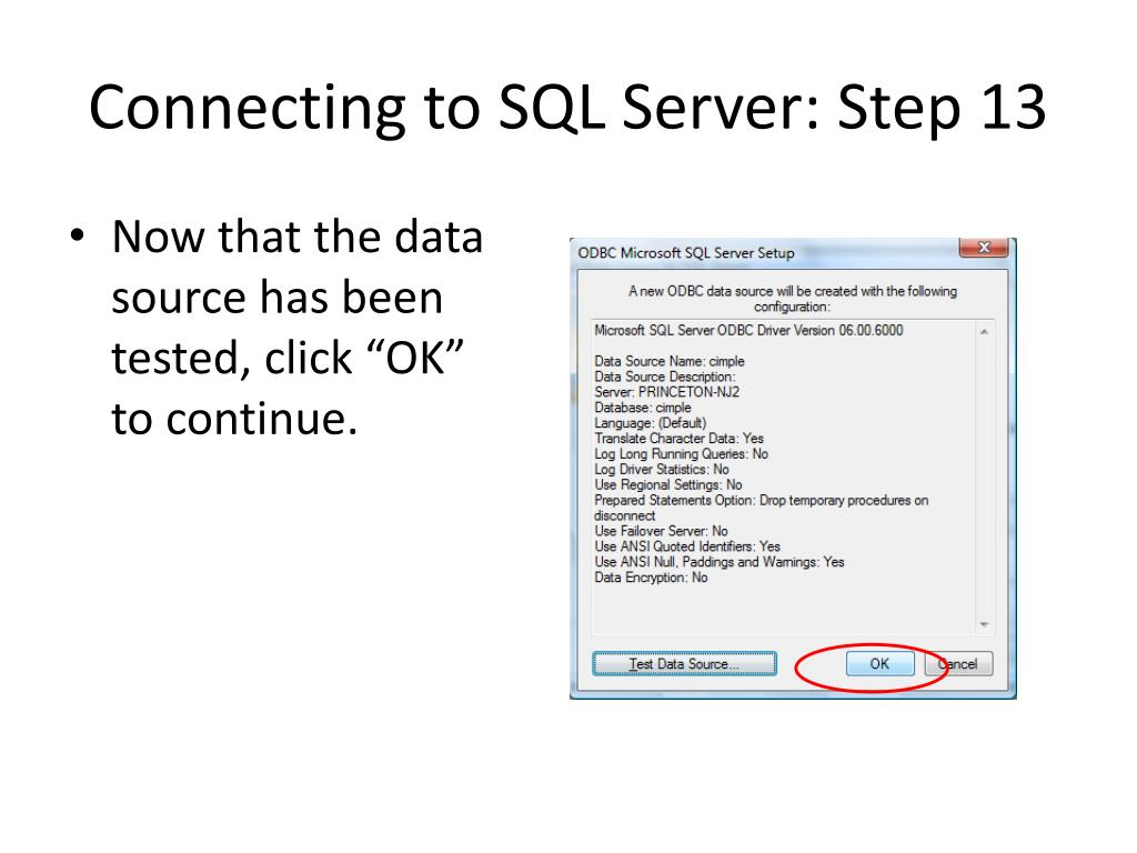 Connecting to SQL Server: Step 13