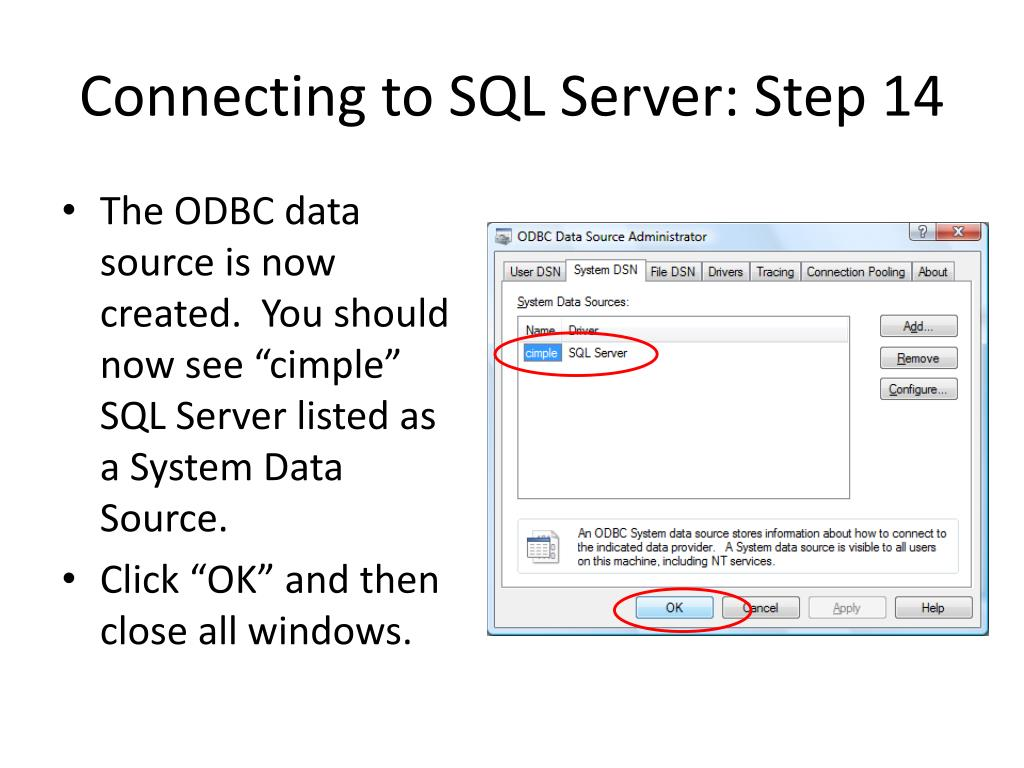 Connecting to SQL Server: Step 14