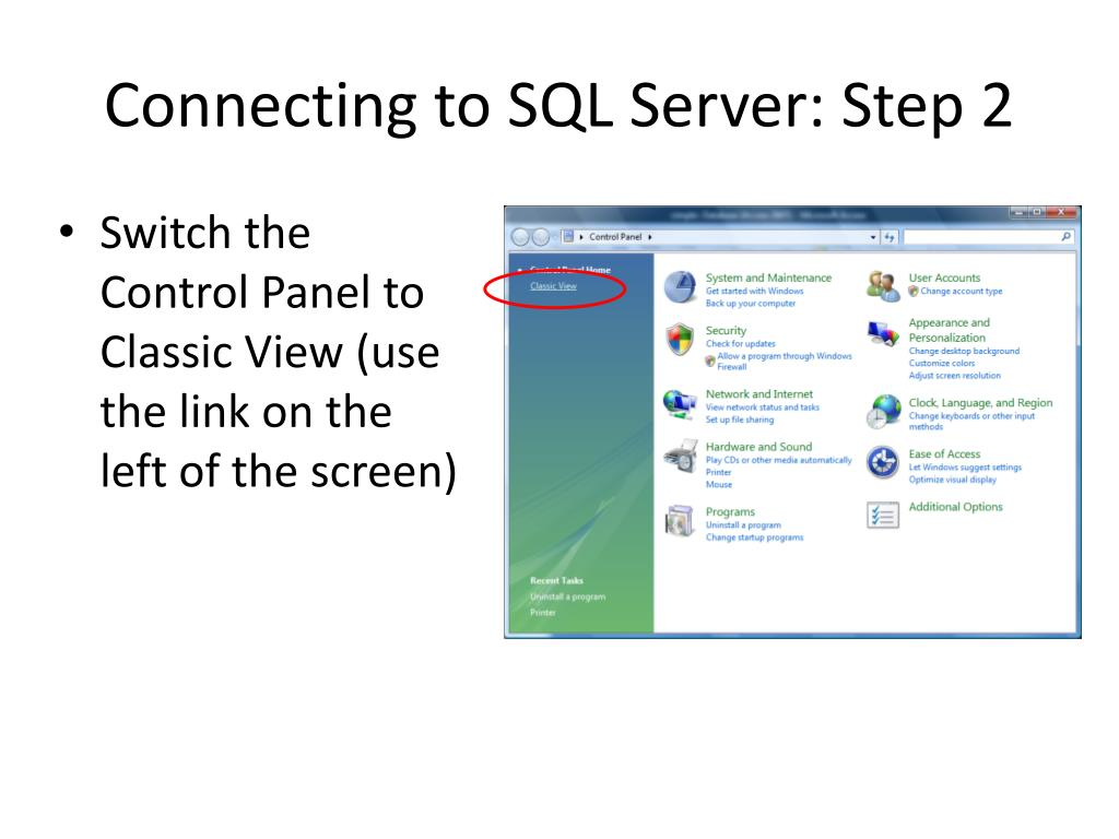 Connecting to SQL Server: Step 2